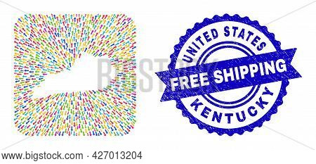 Vector Collage Kentucky State Map Of Abandon Arrows And Rubber Free Shipping Stamp. Mosaic Kentucky