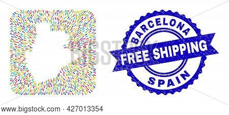 Vector Collage Barcelona Province Map Of Pointing Arrows And Grunge Free Shipping Seal Stamp. Collag