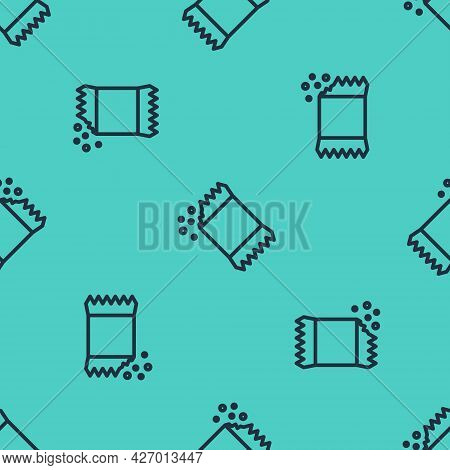 Black Line Packet Of Pepper Icon Isolated Seamless Pattern On Green Background. Vector