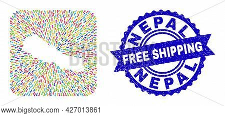Vector Collage Nepal Map Of Navigation Arrows And Grunge Free Shipping Seal. Collage Nepal Map Creat