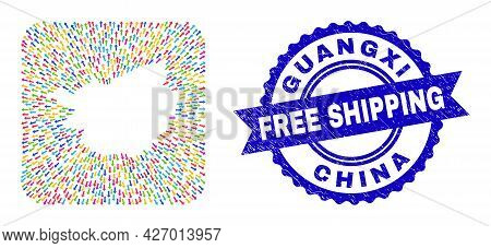 Vector Collage Guangxi Province Map Of Evacuation Arrows And Scratched Free Shipping Seal Stamp. Col
