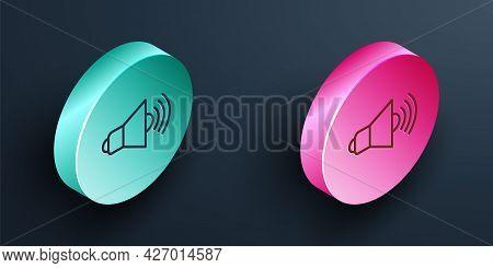 Isometric Line Speaker Volume, Audio Voice Sound Symbol, Media Music Icon Isolated On Black Backgrou
