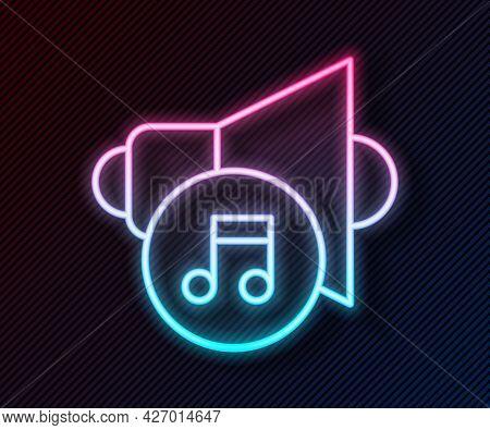 Glowing Neon Line Speaker Volume, Audio Voice Sound Symbol, Media Music Icon Isolated On Black Backg