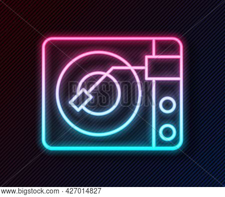 Glowing Neon Line Vinyl Player With A Vinyl Disk Icon Isolated On Black Background. Vector