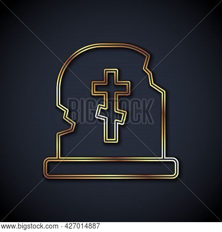 Gold Line Grave With Tombstone Icon Isolated On Black Background. Vector