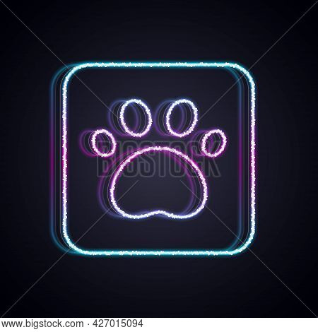 Glowing Neon Line Paw Print Icon Isolated On Black Background. Dog Or Cat Paw Print. Animal Track. V