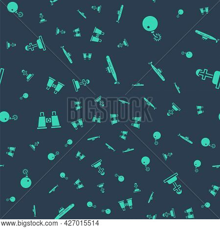Set Submarine, Bomb Ready To Explode, Binoculars And Soldier Grave On Seamless Pattern. Vector