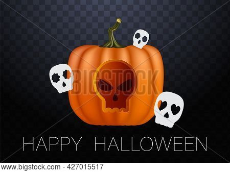 Realistic Vector Halloween Pumpkin With Candle Inside. Happy Face Halloween Pumpkin Isolated On Tran