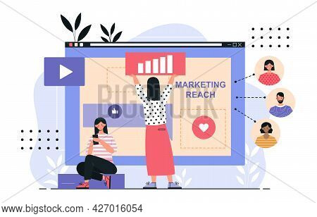 Marketing Reach Concept. Two Women Analyze The Company S Statistics And Increase Their Reach On Soci