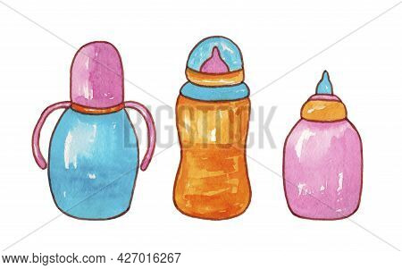 A Set Of Bottles For Newborns. Baby Bottles, Isolated On A White Background. Childrens Items. Blue,