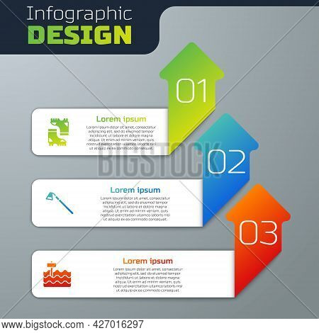 Set Waterproof Rubber Boot, Garden Hoe And Bed. Business Infographic Template. Vector