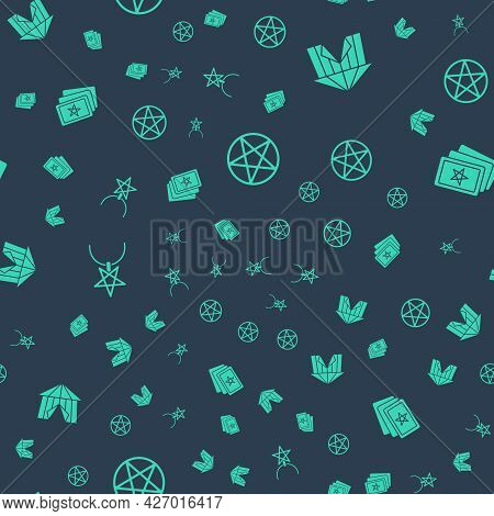 Set Pentagram In A Circle, Circus Tent, On Necklace And Three Tarot Cards On Seamless Pattern. Vecto