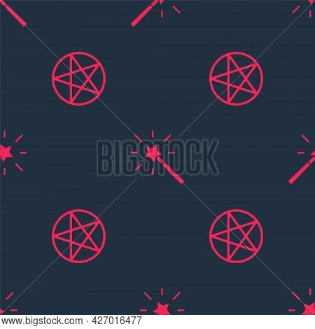 Set Pentagram In A Circle And Magic Wand On Seamless Pattern. Vector
