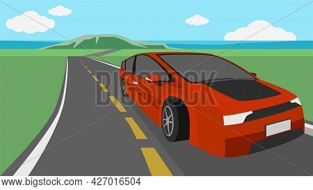 Travel Trip Of Red Sedan Runs On Asphalt Roads From The Sea To The Fields. With Mountain And Sea Bea