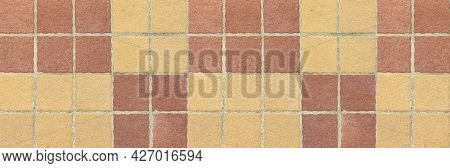 Panorama Of Brown Terra Cotta Floor Tiles Outside The Building Pattern And Background Seamless