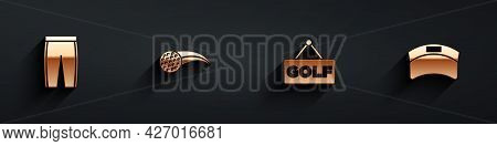 Set Golf Pants, Ball, Label And Sun Visor Cap Icon With Long Shadow. Vector