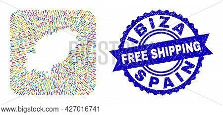 Vector Mosaic Ibiza Island Map Of Abandon Arrows And Scratched Free Shipping Stamp. Mosaic Ibiza Isl
