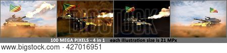 4 High Detail Illustrations Of Heavy Tank With Design That Not Exists And With Congo Flag - Congo Ar