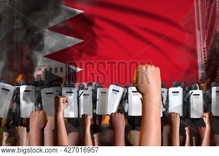 Revolt Fighting Concept - Protest In Bahrain On Flag Background, Police Special Forces Stand Against