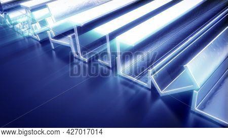 Lighting Metal Profile And Rebar - Cgi Industrial 3d Rendering