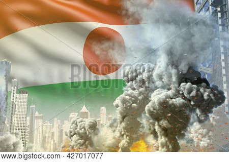 Huge Smoke Pillar With Fire In Abstract City - Concept Of Industrial Accident Or Terrorist Act On Ni