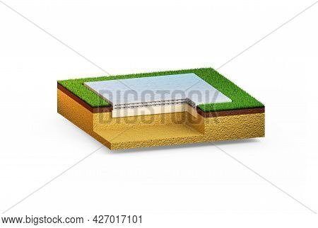 Poured Reinforced Concrete Slab Foundation - Isolated Industrial 3d Rendering