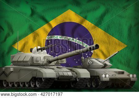 Tanks On The Brazil Flag Background. Brazil Tank Forces Concept. 3d Illustration