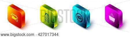Set Isometric Cooking Pot, Grater, Scrambled Eggs And Citrus Fruit Juicer Icon. Vector