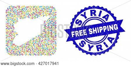 Vector Collage Syria Map Of Evacuation Arrows And Rubber Free Shipping Badge. Collage Syria Map Cons