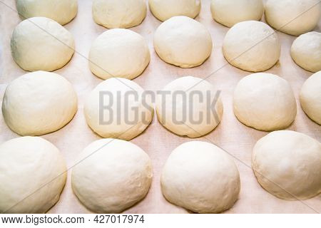 Lumps Of Dough On A White Board, Prepared For Making And Baking Uzbek Tortillas. Confectionery Produ