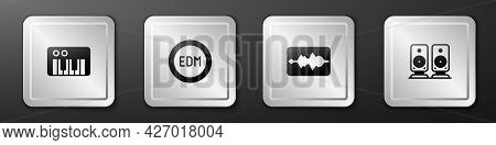 Set Music Synthesizer, Edm Electronic Dance Music, Wave Equalizer And Stereo Speaker Icon. Silver Sq