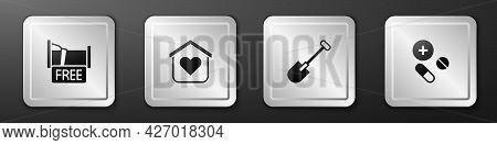 Set Free Overnight Stay House, Shelter For Homeless, Shovel And Medicine Pill Tablet Icon. Silver Sq
