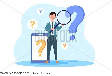 Ask A Question Concept. A Man With A Large Magnifying Glass In His Hands Is Trying To Find Answers T
