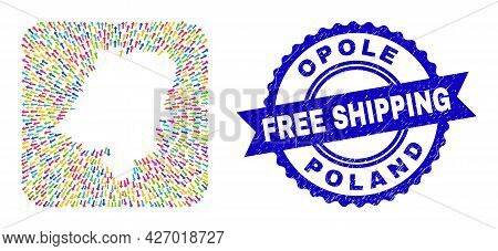 Vector Collage Opole Voivodeship Map Of Emigration Arrows And Rubber Free Shipping Seal Stamp. Colla