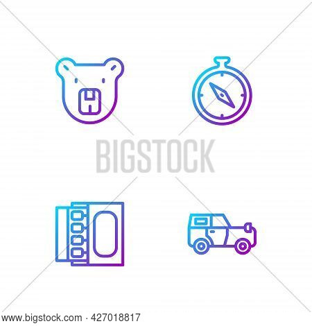 Set Line Off Road Car, Matchbox And Matches, Bear Head And Compass. Gradient Color Icons. Vector