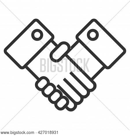Business Handshake, Contract Agreement Flat Vector Icon For Apps And Websites Isolated On White Back