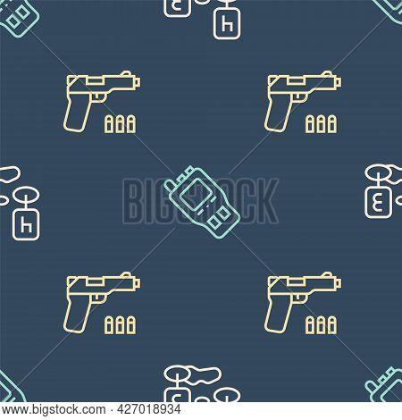 Set Line Marker Of Crime Scene, Pistol Or Gun And Walkie Talkie On Seamless Pattern. Vector