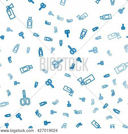 Set Line Scissors, Perfume And Spray Can For Hairspray On Seamless Pattern. Vector