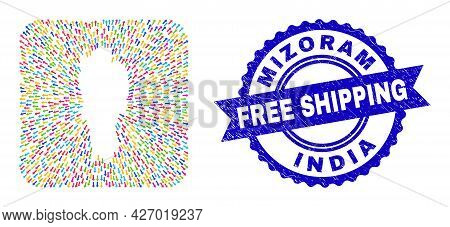 Vector Collage Mizoram State Map Of Emigration Arrows And Scratched Free Shipping Seal Stamp. Collag