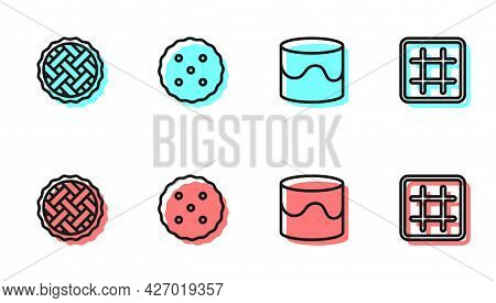 Set Line Cake, Homemade Pie, Cookie Or Biscuit And Waffle Icon. Vector