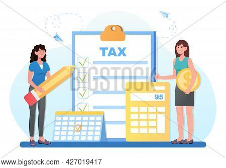 Taxes Calculation Concept. Women With A Pencil, A Calculator And A Coin Count The Amount Of Money Fo