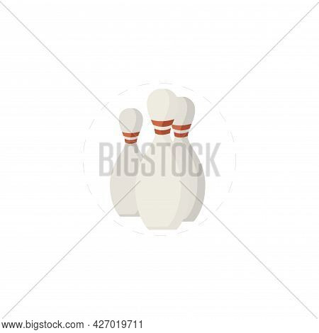 Bowling Cones Clipart. Bowling Cones Isolated Simple Flat Vector Clipart
