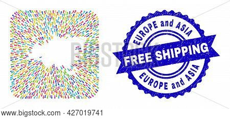 Vector Mosaic Europe And Asia Map Of Away Arrows And Rubber Free Shipping Seal Stamp. Mosaic Europe