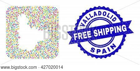 Vector Mosaic Valladolid Province Map Of Direction Arrows And Rubber Free Shipping Seal. Mosaic Vall
