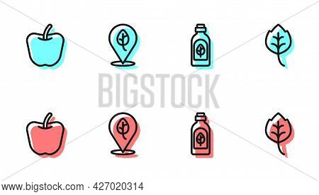 Set Line Essential Oil Bottle, Apple, Vegan Food Diet And Leaf Or Leaves Icon. Vector