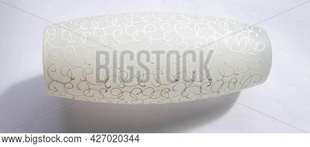 Original White Glass Vase On A White Background. An Empty Flower Vase.