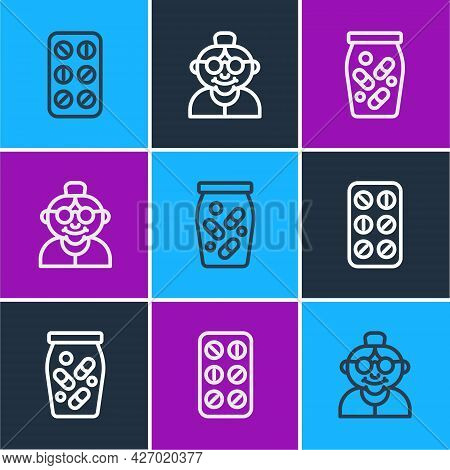 Set Line Pills In Blister Pack, Medicine Bottle And Pills And Grandmother Icon. Vector