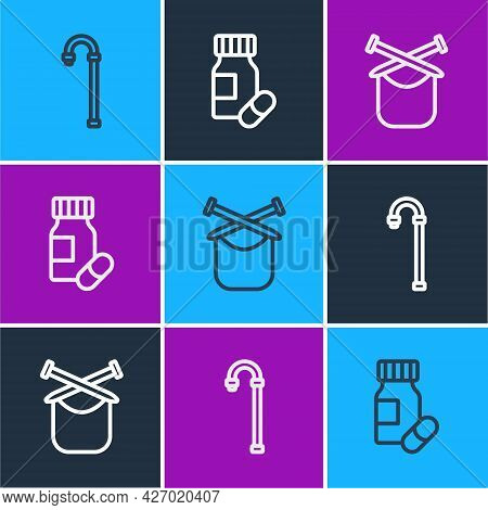 Set Line Walking Stick Cane, Knitting And Medicine Bottle And Pills Icon. Vector