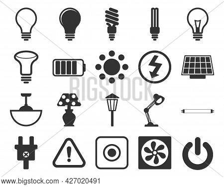 Electricity Icons Set. Set Of Light Bulbs, Lamps, Socket, Electrical Plug, Socket, American Socket,