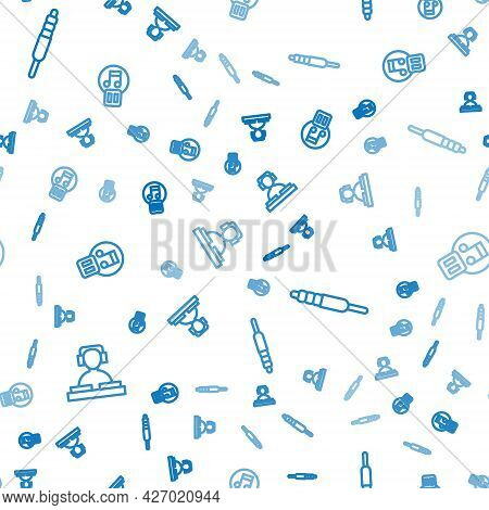 Set Line Dj Playing Music, Audio Jack And Pause Button On Seamless Pattern. Vector